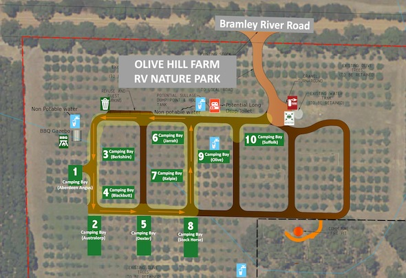 Olive Hill Farm RV campground map
