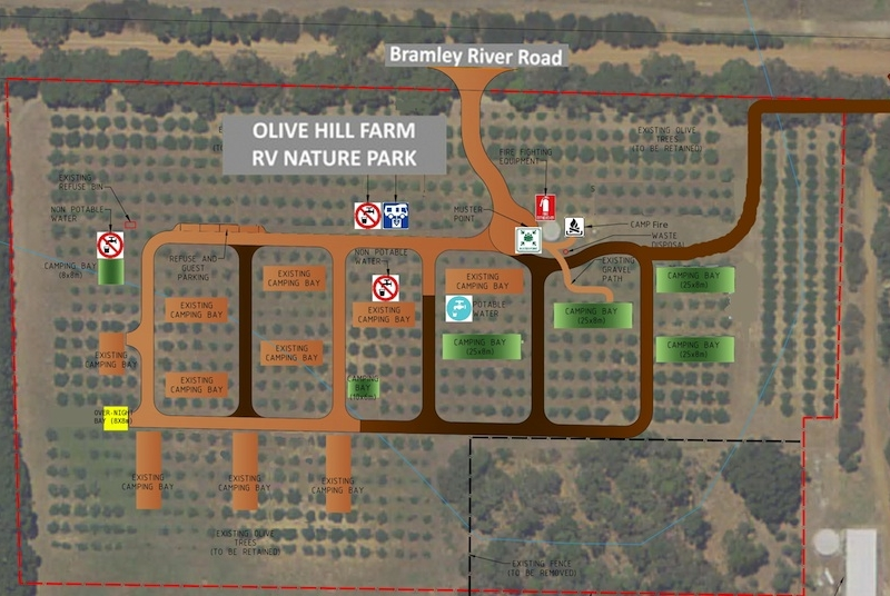 Olive Hill RV Campground Margaret River Site Plan